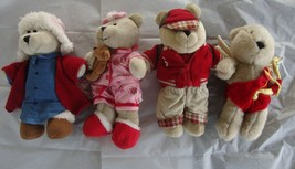 Starbucks Bears Plush Collectors Lot Of 4 Back to School Pajamas Cupid S... - $14.80