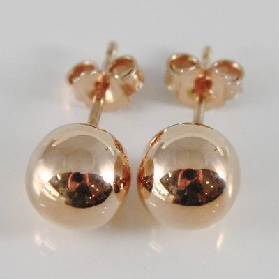 18K ROSE GOLD EARRINGS WITH BIG 8 MM BALLS BALL ROUND SPHERE, MADE IN ITALY