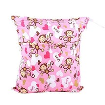 "Monkey Wet Bags Waterproof Diaper Bag Multi-function Nappy Bag -14""11"" Pink"