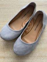Lucky Brand Emmie Ballet Flats Gray Suede 7m - $14.00