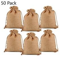 50 Burlap Gift Bags Wedding Hessian Jute Bag 3x4' Linen Jewelry Drawstri... - $29.02