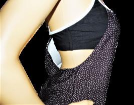 NEXT Black with Light Blue Dots Blouson Swimsuit Top Size 32 B/C image 4