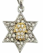Magen David Hamsa Clear Crystals Silver Gold Rhodium Pendant & Necklace Kabbalah