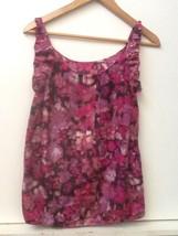 Ann Taylor LOFT Size XS Watercolor Floral Bubble Hem Silk Cotton Tank - $18.95