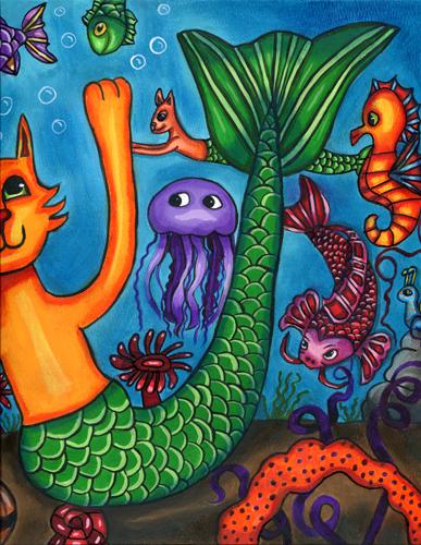 "cat mermaid art painting original fish fantasy fairytale animals 11"" x 15"""