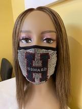 Howard University Bling Rhinestone Face Mask With  Filter Blue Washable - £14.53 GBP