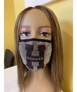 Howard University Bling Rhinestone Face Mask With  Filter Blue Washable - £13.92 GBP