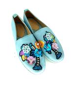 Anthro Bill Blass Sutton Blue Palm Tree Espadrille Shoe Women's 7.5  - $150.00