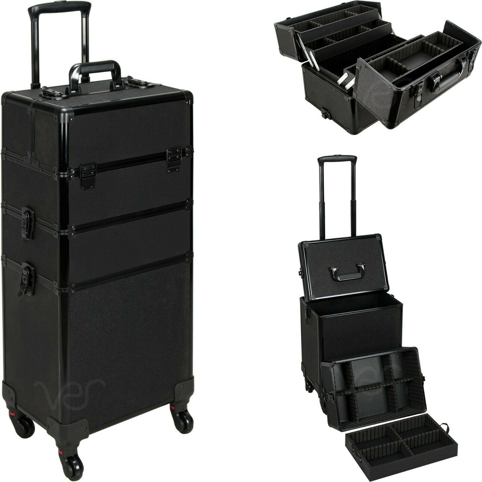 Primary image for Aluminum Rolling Makeup Case Cosmetic Professional Organizer Trolley Lockable