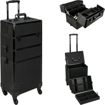 Aluminum Rolling Makeup Case Cosmetic Professional Organizer Trolley Lockable - $199.99