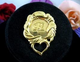 "1991 Avon President's Club Heart Brooch Vintage Pin Pc Goldtone 2"" - $16.99"