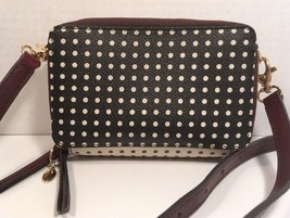 Fossil Small Black/White Polkadot Cross Body Faux Leather/Leather Trim - $39.58