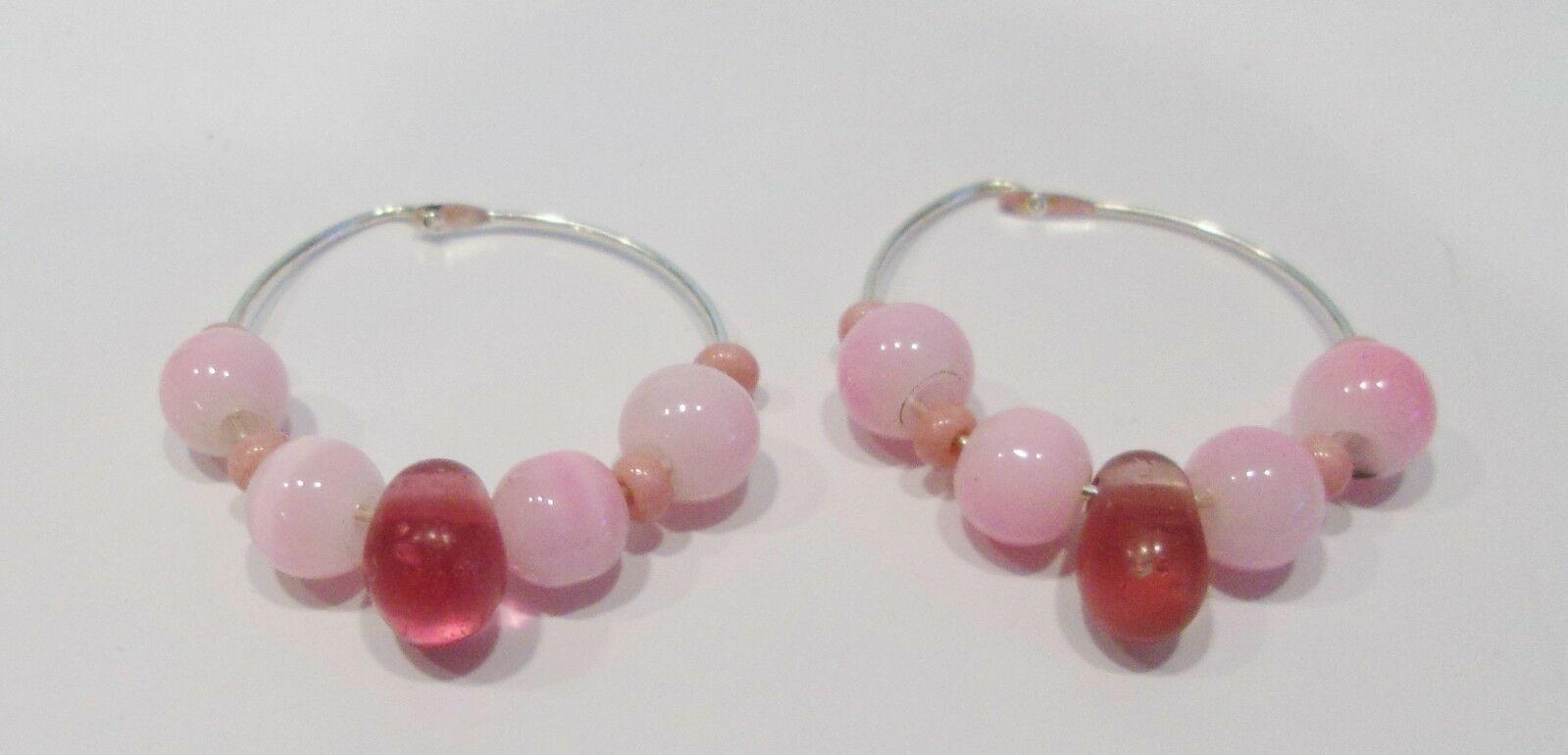 handmade silver hoop earrings with pink cat eye beads and rose tear drop beads