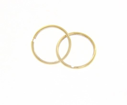 18K YELLOW GOLD ROUND CIRCLE HOOP EARRINGS DIAMETER 10 MM x 1 MM, MADE IN ITALY