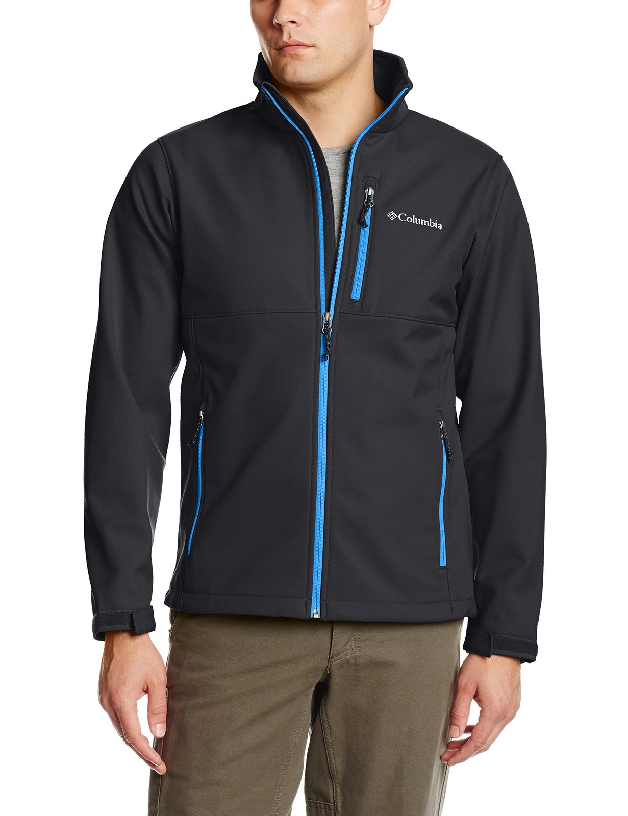 Columbia Men's Ascender Softshell Front-Zip Jacket, Black/Super Blue, Small
