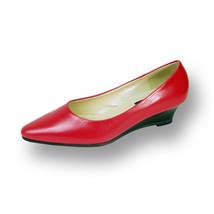 PEERAGE Gloria Women Wide Width Leather Wedge Pump Shoes  - $44.95