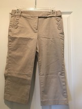 Talbots Stretch Tan Color Capri Pants Women's Cute Fall Fun Light Weight... - $14.84