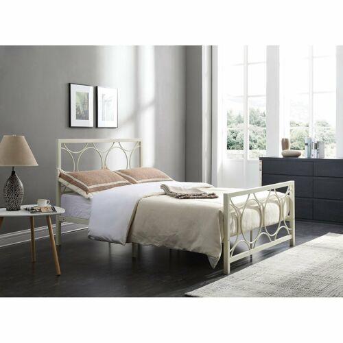 Ivory Cream Finish Twin Full Queen Metal Platform Bed
