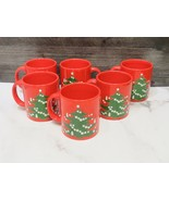 Set of 6 Waechtersbach Merry Christmas Tree Mugs Germany Red - $43.56
