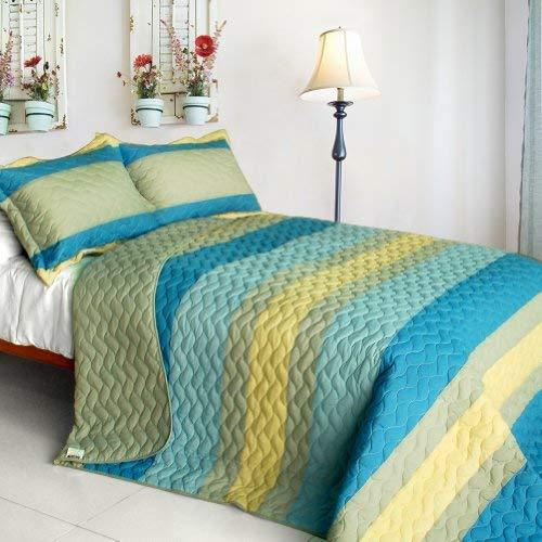 [Secrets Of Life] 3PC Vermicelli-Quilted Patchwork Quilt Set (Full/Queen Size)