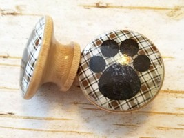 "Handcrafted Brown Plaid Dog Paw Print Knobs Drawer Pulls, 1.5"" Cabinet K... - $5.94"