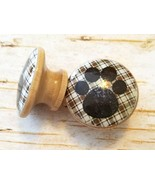 """Handcrafted Brown Plaid Dog Paw Print Knobs Drawer Pulls, 1.5"""" Cabinet K... - $5.94"""