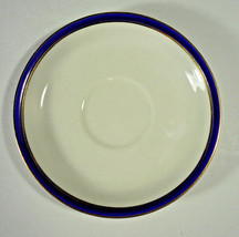 "Johnson Brothers Saucer 4¼"" White with Gold & Blue Band, Gold Rim - $2.99"