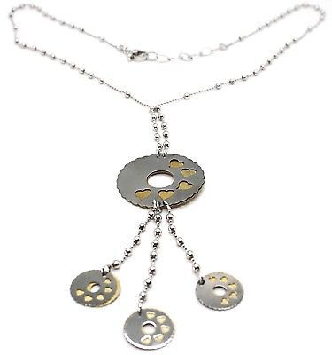 Silver necklace 925 Chain Balls, Flower, Hearts, Discs Charms, bicolor