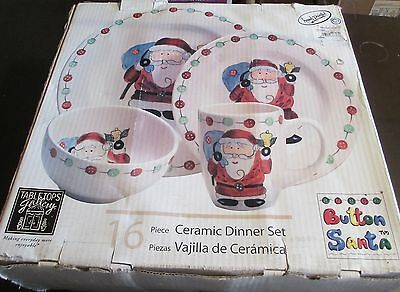 Tabletops Gallery Button Santa Boxed Set of 16 Plates, Bowls and Mugs