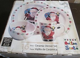 Tabletops Gallery Button Santa Boxed Set of 16 Plates, Bowls and Mugs image 1
