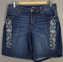Style & Co Shorts 10 Bermuda Jean Denim Stretch Cotton Embroided Rose - $24.99