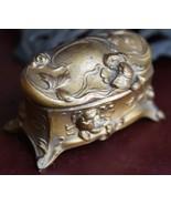 VINTAGE ANTIQUE JEWELRY CASKET BOX ART NOUVEAU FRENCH DRESSER TRINKET LI... - $49.99