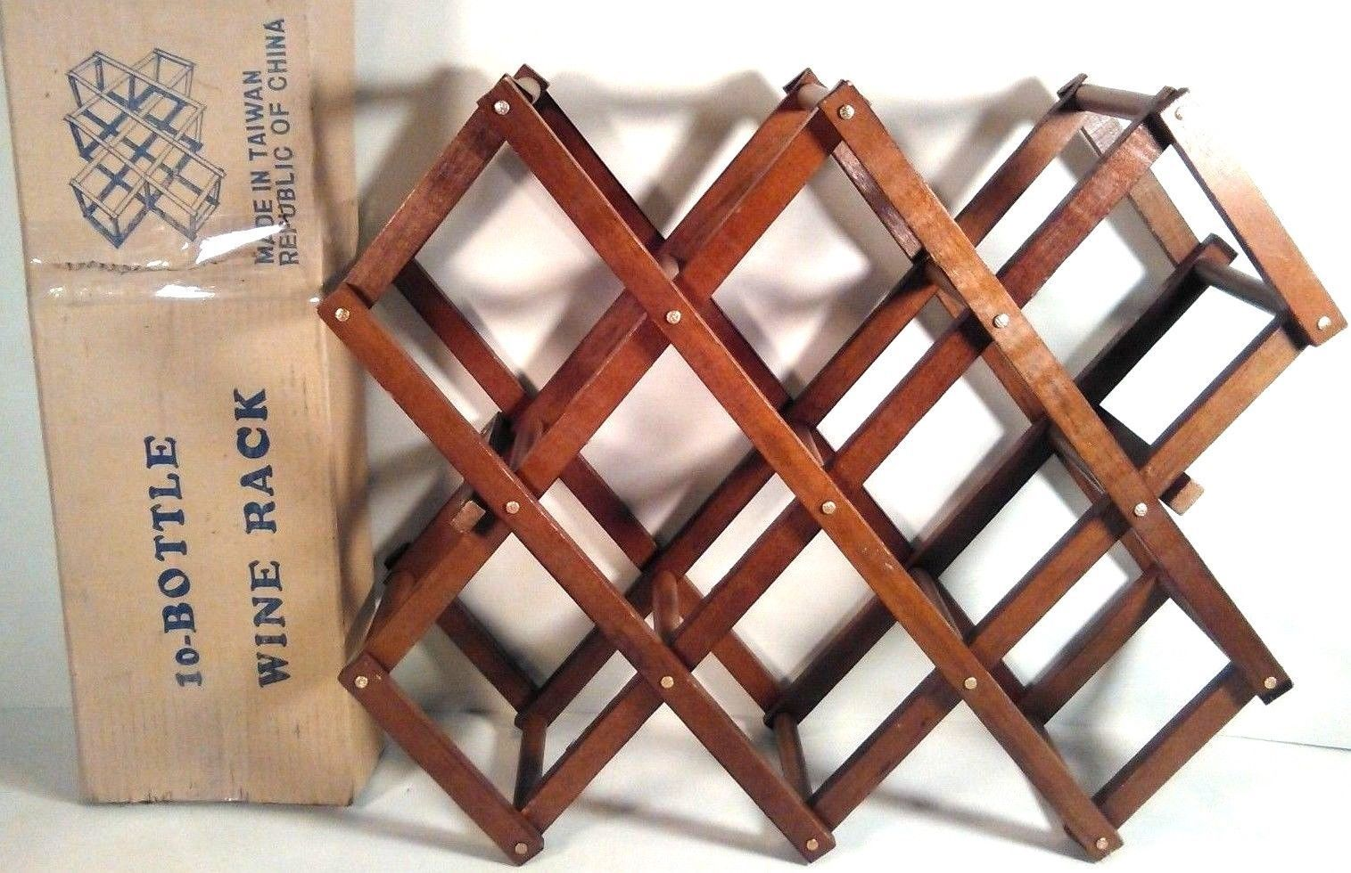 NEW 10 BOTTLE WOOD WOODEN WINE BOTTLE RACK HOLDER FOLDING COLLAPSIBLE USA SELLER