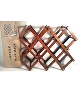 NEW 10 BOTTLE WOOD WOODEN WINE BOTTLE RACK HOLDER FOLDING COLLAPSIBLE US... - $19.99