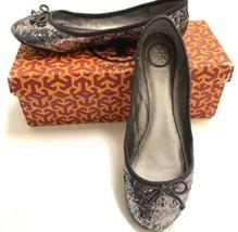 Tory Burch Pewter Chelsea Ballet Flats Sz 7.5 Silver Glitter Bow Toe Sli... - $49.50