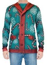 Faux Real Lick My Candy Cane Ugly Christmas Xmas Sweater Look L/S Holiday Shirt - $36.42