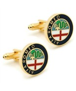 ALPHA ROMEO CUFFLINKS Car Emblem Logo NEW w GIFT BAG Pair Wedding Groom ... - $12.95