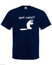 Mens T-Shirt Cute Cat Quote Got Cats?, Funny Kitty TShirt, Smiling Cat Shirt - $24.74