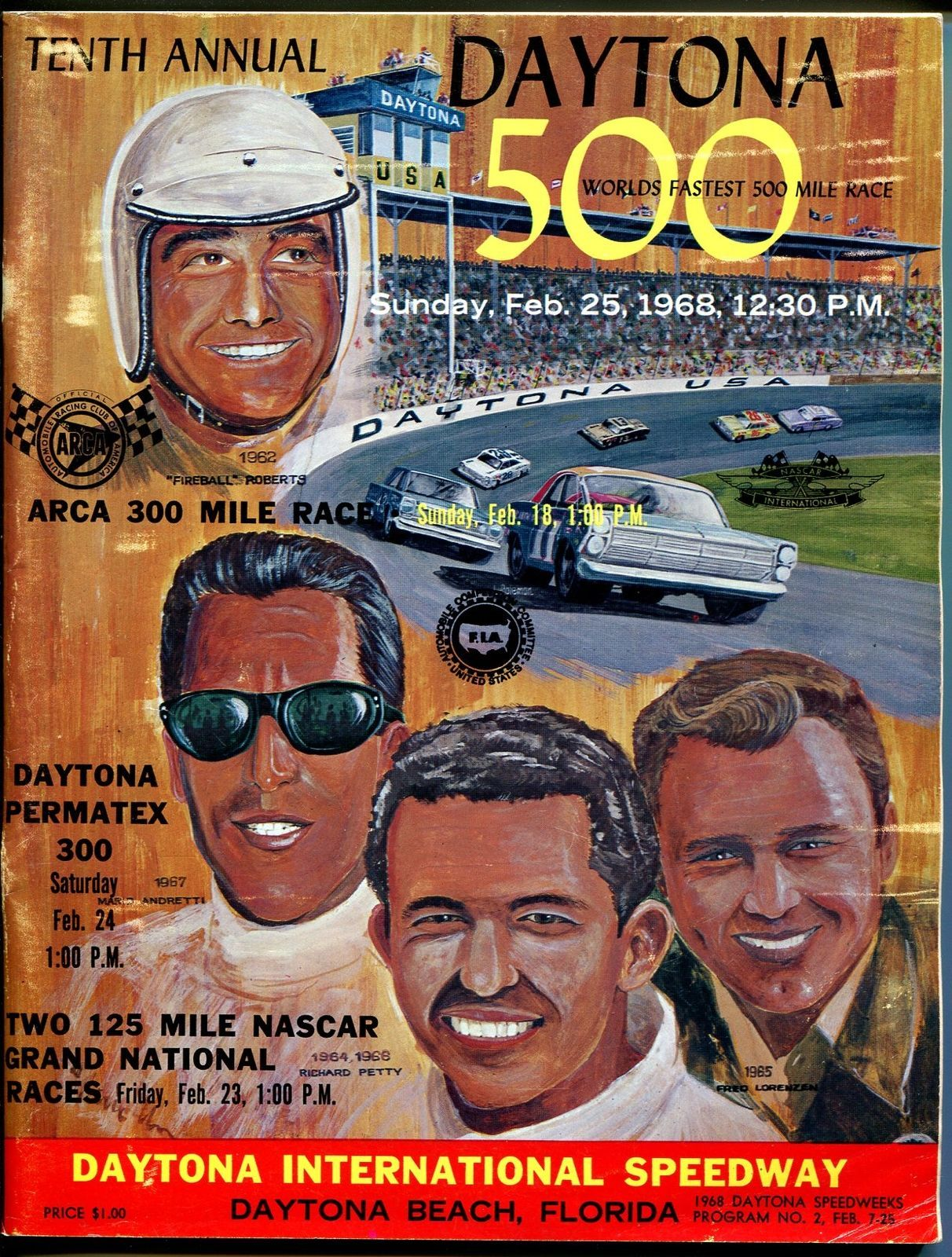 Primary image for Daytona Int'l Speedway NASCAR Daytona 500 Program 2/1968-Petty-Roberts-VG