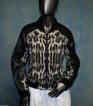 Vince Leather & Leopard Print Size Medium Bomber Jacket w/Gold Metallic RP $795 - $137.74