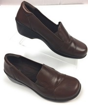 Clarks Esha Haven #26101991 Leather Comfort Slip On Shoes Brown Women's ... - $20.16