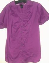 Women's Purple V Neck Button Down Top Size 16 - $5.00