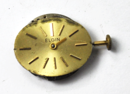 Elgin 937 Watch Movement Starts and Stops Needs Service 17J Oval Gold Dial - $7.91