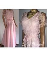 VTG 70s Pink Poly Knit/Lace Blouson Bodice Short Sleeve Boho Formal~M~We... - $78.00