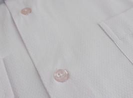 Men's Fashion Fit Long Sleeve Button Down Pocket Pattern White Dress Shirt - M image 2