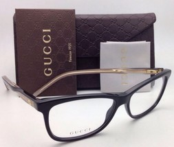 New GUCCI Eyeglasses GG 3643 0WM 52-14 Black & Gold w/ Clear Transparent Frames
