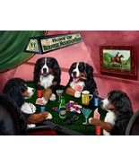 Home of Bernese Mountain 4 Dogs Playing Poker Art Portrait Print Woven T... - $137.61
