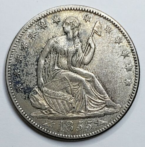 1855 Arrows Seated Liberty US Silver Half Dollar Coin Lot 519-123