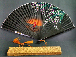 Vintage Asian Folding Hand-Held Paper Fan with Box, Sailboat Design, 9-1... - $16.29