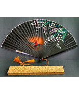 Vintage Asian Folding Hand-Held Paper Fan with Box, Sailboat Design, 9-1... - $6.65
